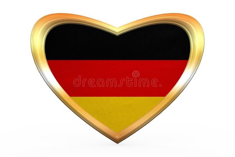 Flag of Germany in heart shape, golden frame royalty free illustration