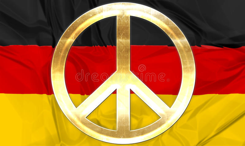 Flag of Germany peace. The national flag of Germany with golden peace symbol in gold vector illustration
