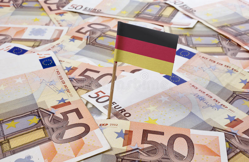 Flag of Germany sticking in 50 Euro banknotes.(series). Flag of Germany sticking in european banknotes.(series royalty free stock photos