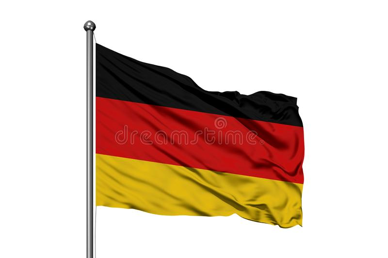 Flag of Germany waving in the wind, isolated white background. German flag stock image