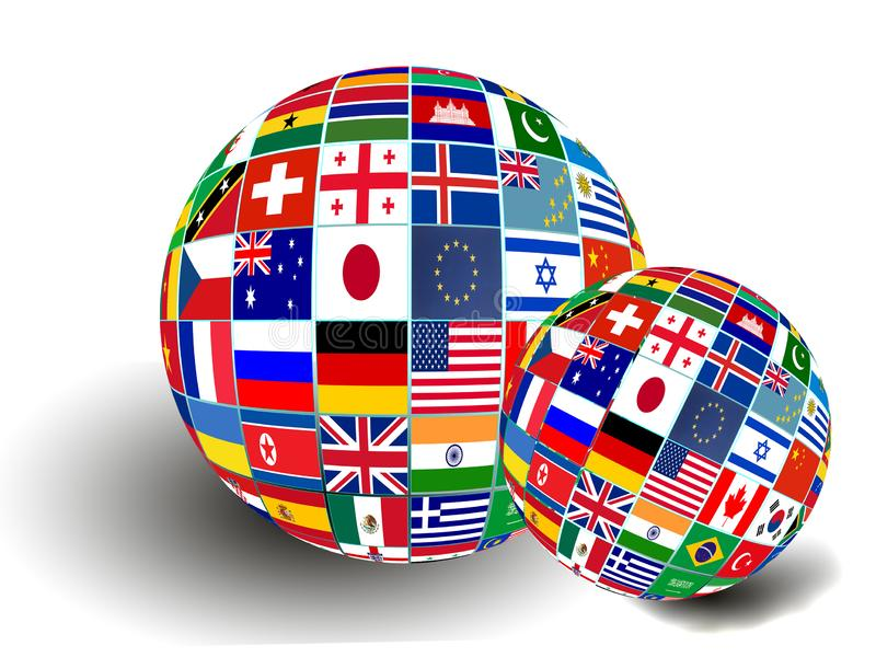 Flag Globe with different country flags. On white background stock photography