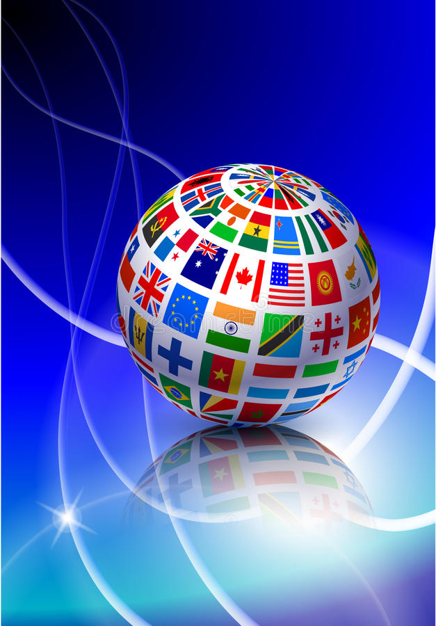 Download Flag Globe With Light Streak Background Stock Illustration - Image: 14272247