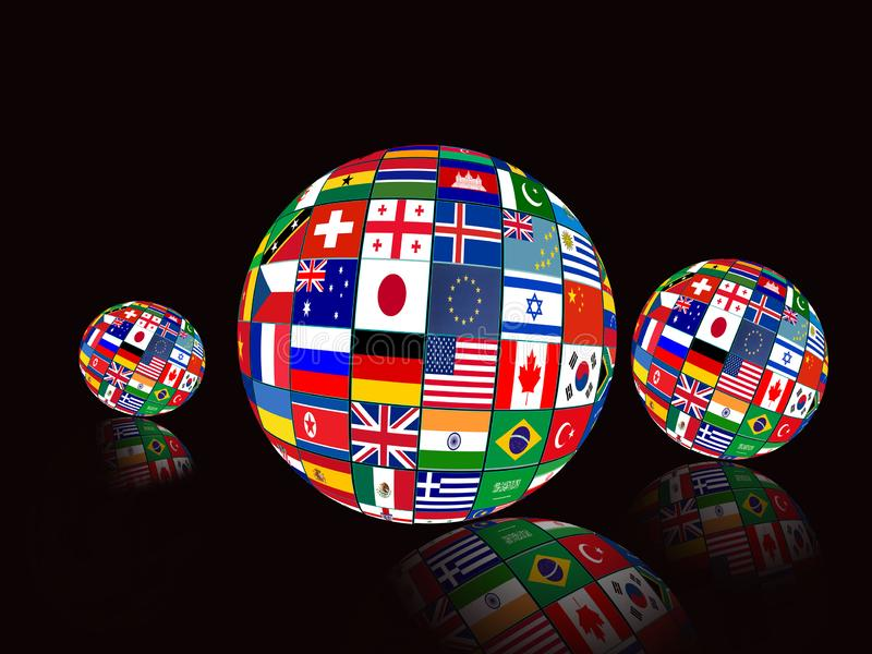 Flag Globes with different country flags. On black background stock image