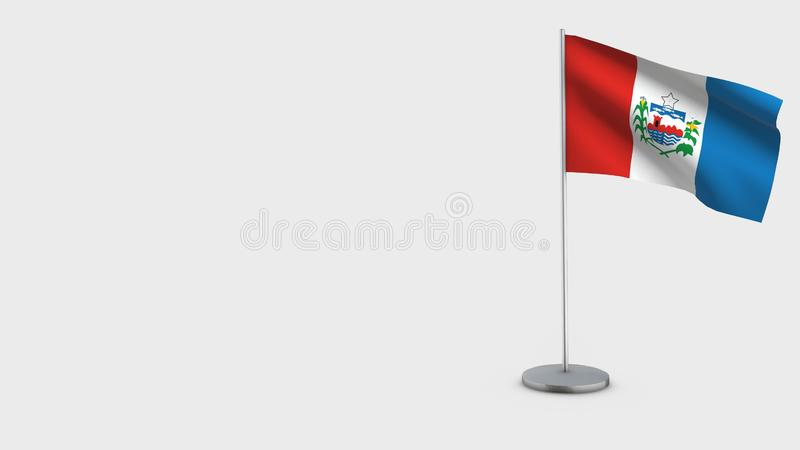 Alagoas 3D waving flag illustration. Alagoas 3D Flag isolated on white background. Waving in wind on steel flagpole royalty free illustration