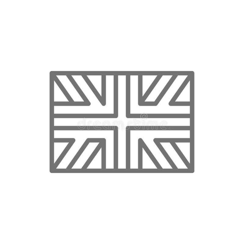 Flag of Great Britain, England line icon. royalty free illustration
