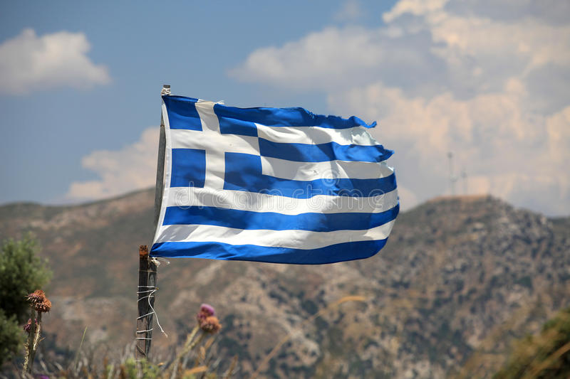 The flag of Greece. In a similar state as the economy royalty free stock photos
