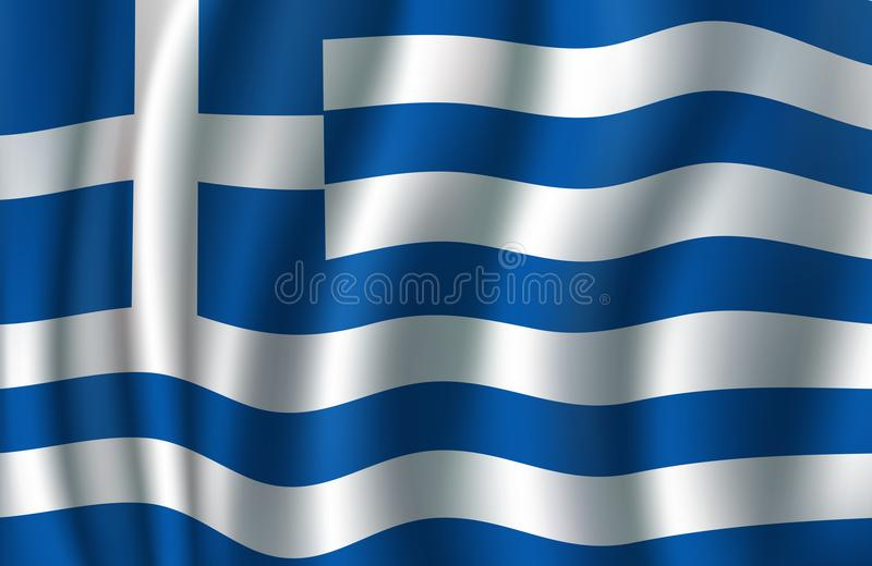 Flag of Greece 3d vector, greek blue, white banner stock illustration