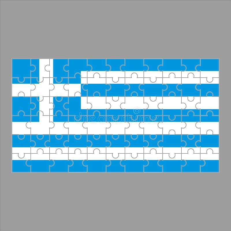 Flag of Greece puzzle on gray background. stock illustration