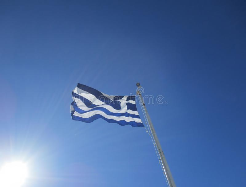 Flag Greece in wind royalty free stock photos