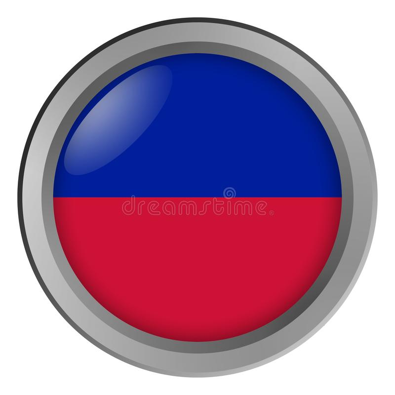 The flag of Haiti civil round as a button. Close-up stock illustration