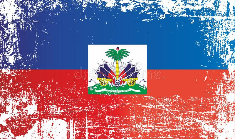 Flag of Haiti. Wrinkled dirty spots. Can be used for design, stickers, souvenirs vector illustration