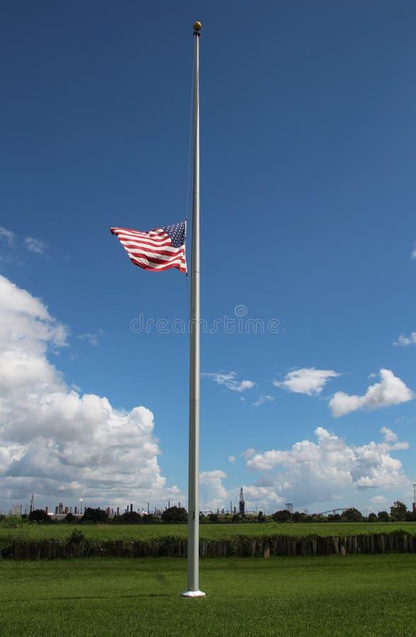 Flag at Half Mast at Chalmette Battlefield stock image