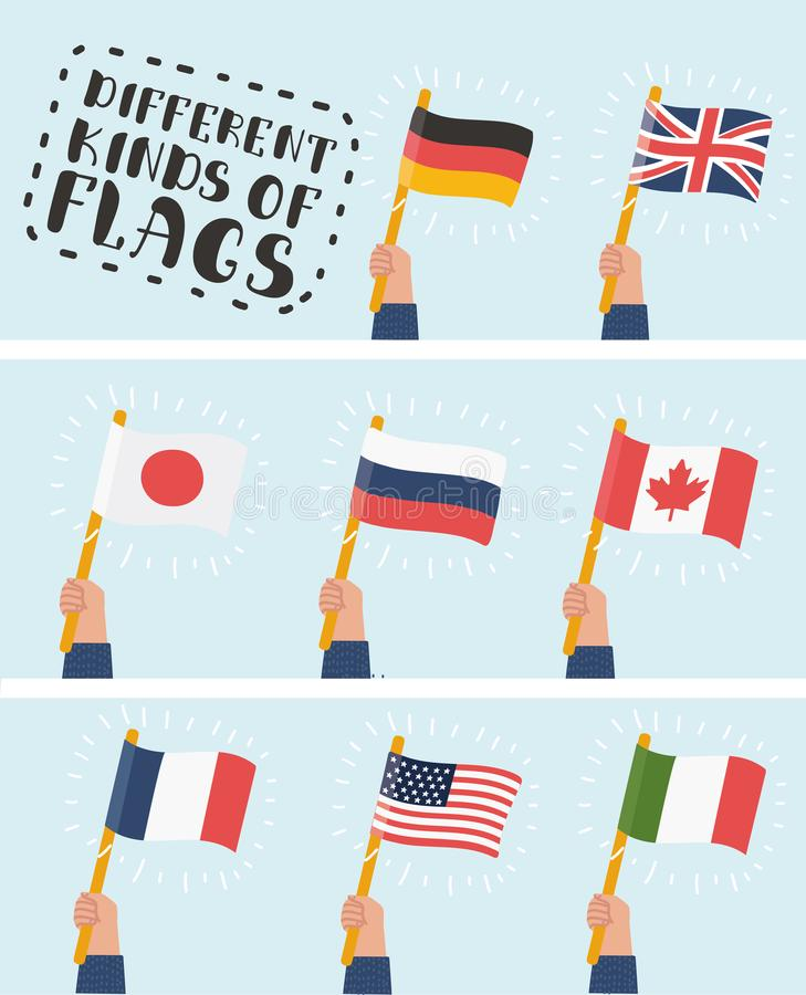Flag in hand round icons set. Human hands holding flags of different countries, vector illustration royalty free illustration