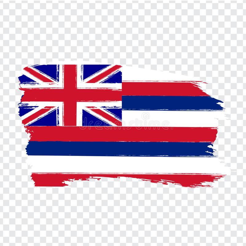 Flag of Hawaii from brush strokes. United States of America.  Flag Hawaii on transparent background for your web site design, logo. App, UI. Stock vector vector illustration
