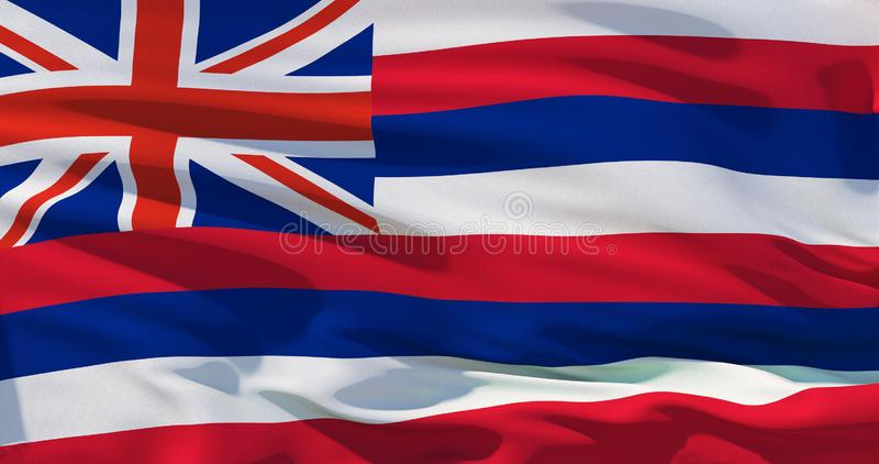 Flag of Hawaii, high quality realistic 3d illustration royalty free illustration