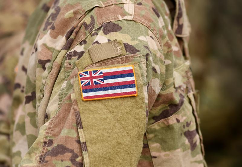 Flag of Hawaii on military uniform. United States. USA, army, soldiers. Collage stock photos