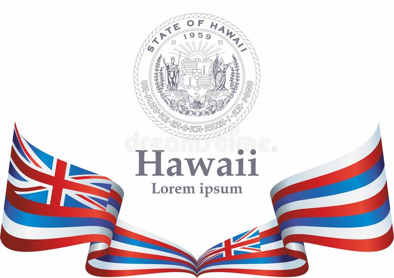 Flag of Hawaii, State of Hawaii, United States of America. Template for award design, an official document with the flag of Hawaii stock illustration
