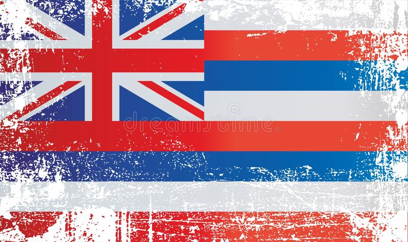 Flag of Hawaii. Wrinkled dirty spots. Can be used for design, stickers, souvenirs royalty free illustration