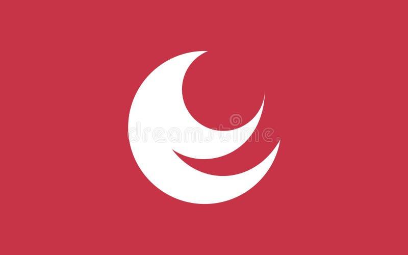 Flag of Hiroshima Prefecture, Japan. Flag of Hiroshima Prefecture is a prefecture of Japan located in the Chugoku region on Honshu island. 3D rendering stock illustration