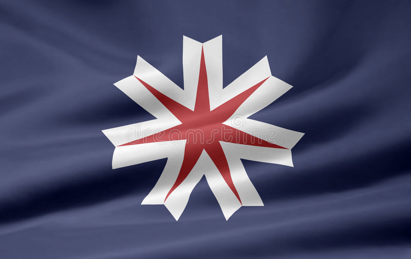 Flag of Hokkaido - Japan royalty free stock photo