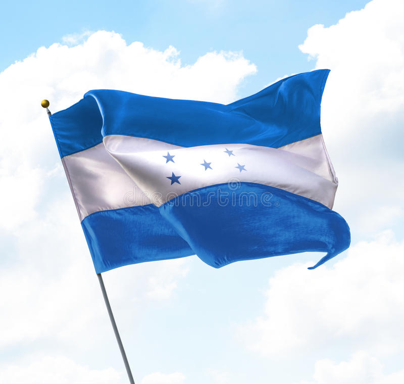 Flag of Honduras. Raised Up in The Sky stock image