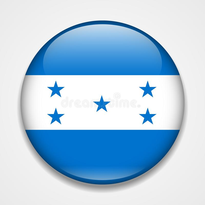 Flag of Honduras. Round glossy badge stock illustration