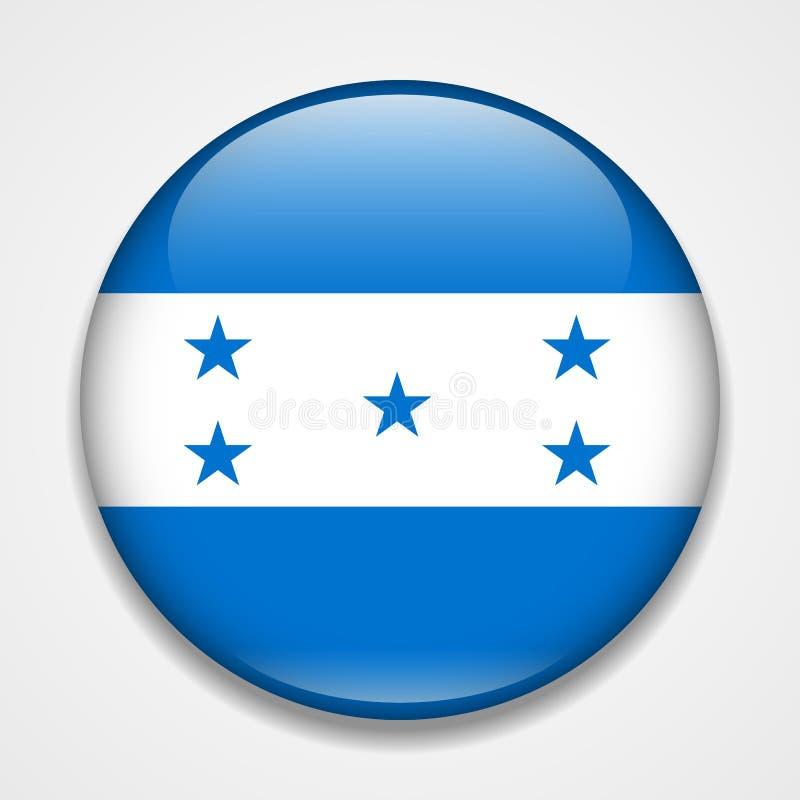 flag honduras Runt glansigt emblem stock illustrationer