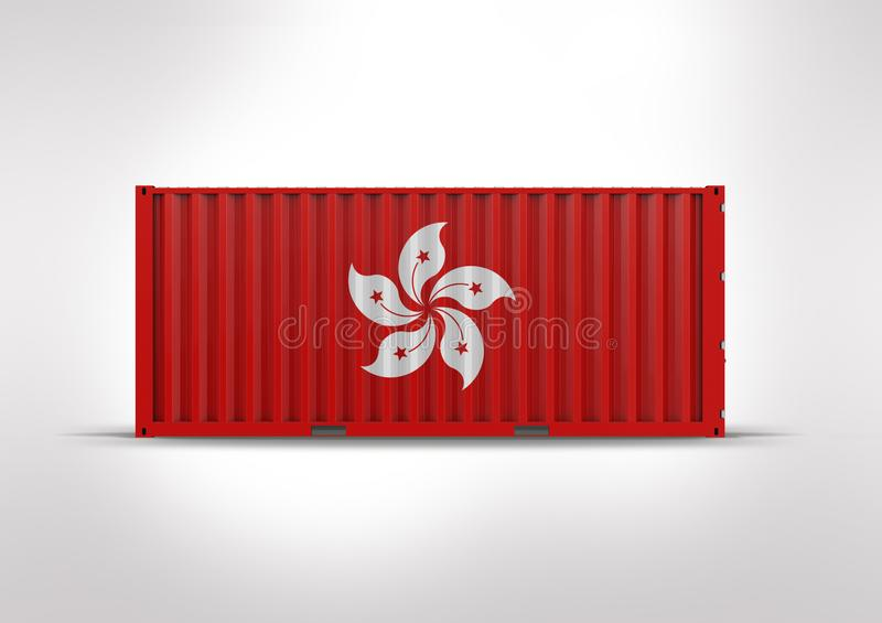 Flag of Hong Kong. Container in 3D.rendering. Flag of Hong Kong, 3d rendering, container, globalization, accelerate logistics, reduce costs, shipped by ship royalty free stock image