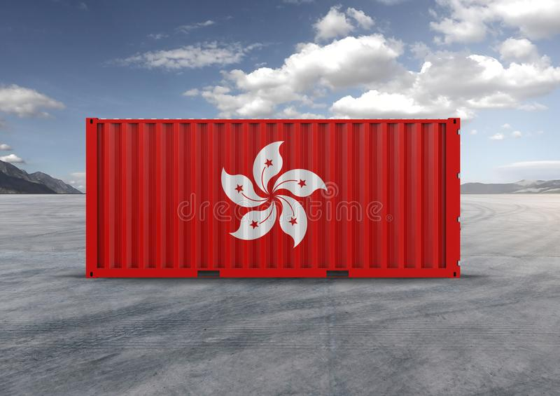 Flag of Hong Kong. Container in 3D.rendering. Flag of Hong Kong, 3d rendering, container, globalization, accelerate logistics, reduce costs, shipped by ship stock image