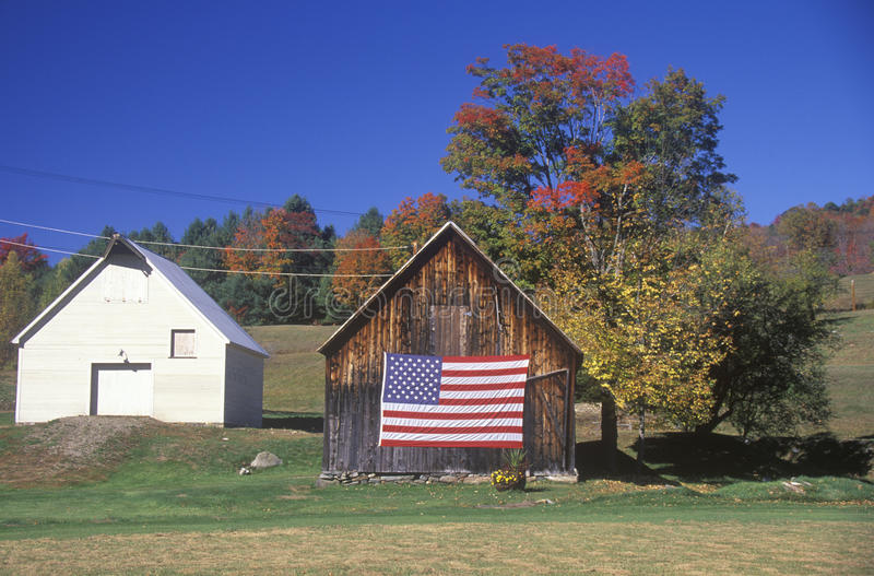 Download Flag Hung on an Old Barn stock image. Image of pride - 26890915