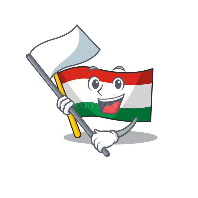 With flag hungary flag folded in character drawer. Vector illustration vector illustration