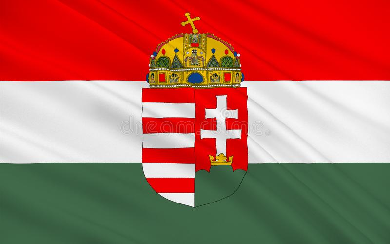 Flag of Hungary. Is a sovereign state in Europe. It is situated in the Carpathian Basin royalty free stock photo