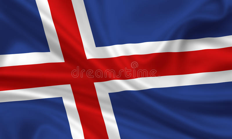 Flag of iceland. 3d rendered flag of iceland vector illustration