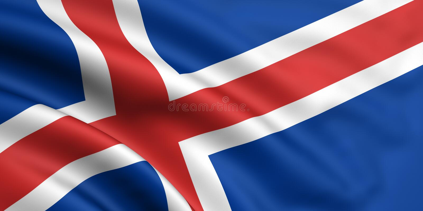 Flag Of Iceland. 3d rendered and waving flag of iceland royalty free illustration