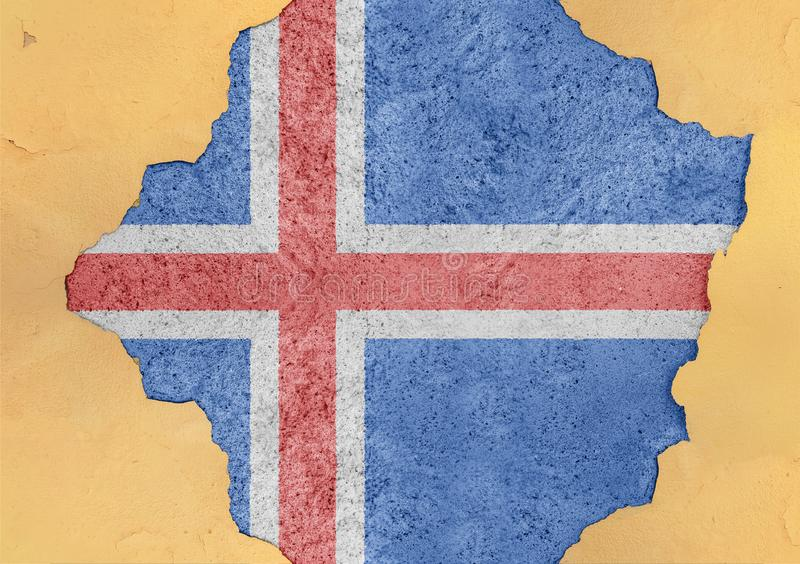 Flag of Iceland in big broken material concrete cracked hole facade. Structure royalty free stock images