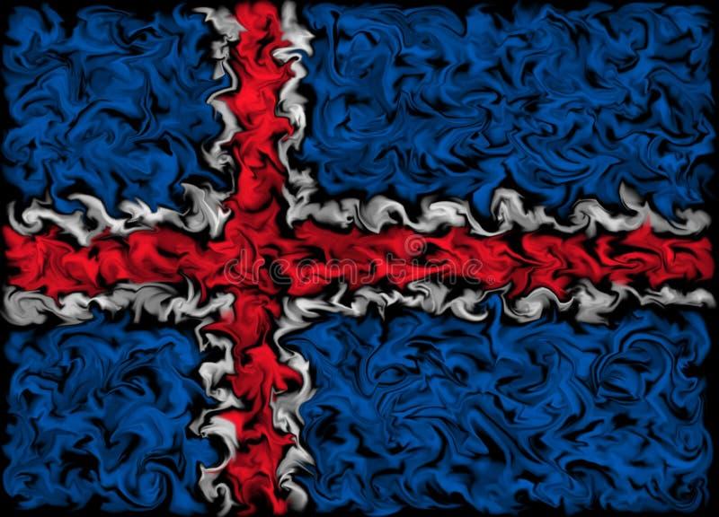 Flag of the Iceland - Burning smeared color flag design. Pulsing color design - Icelandic Flag stock illustration