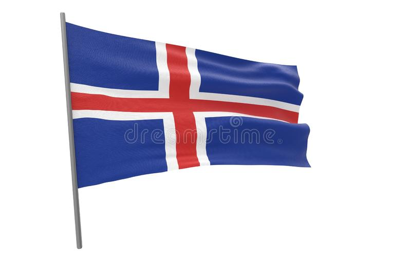 Flag of Iceland. Illustration of a waving flag of Iceland. 3d rendering stock illustration