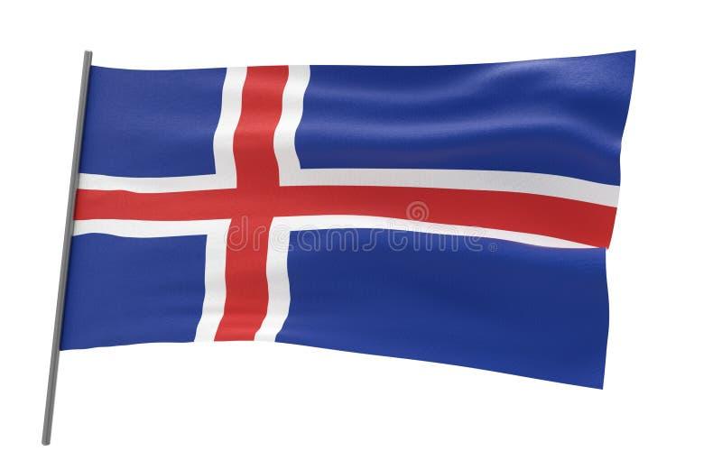 Flag of Iceland. Illustration of a waving flag of Iceland. 3d rendering vector illustration