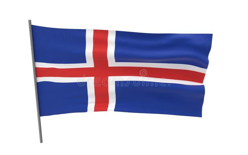Flag of Iceland. Illustration of a waving flag of Iceland. 3d rendering royalty free illustration