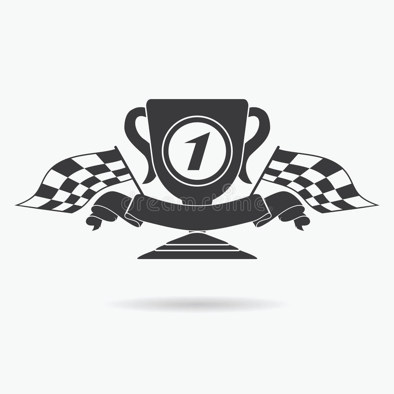 Flag icon. Checkered or racing flags first place prize cup and finish ribbon. Sport auto, speed and success, competition and winne royalty free illustration