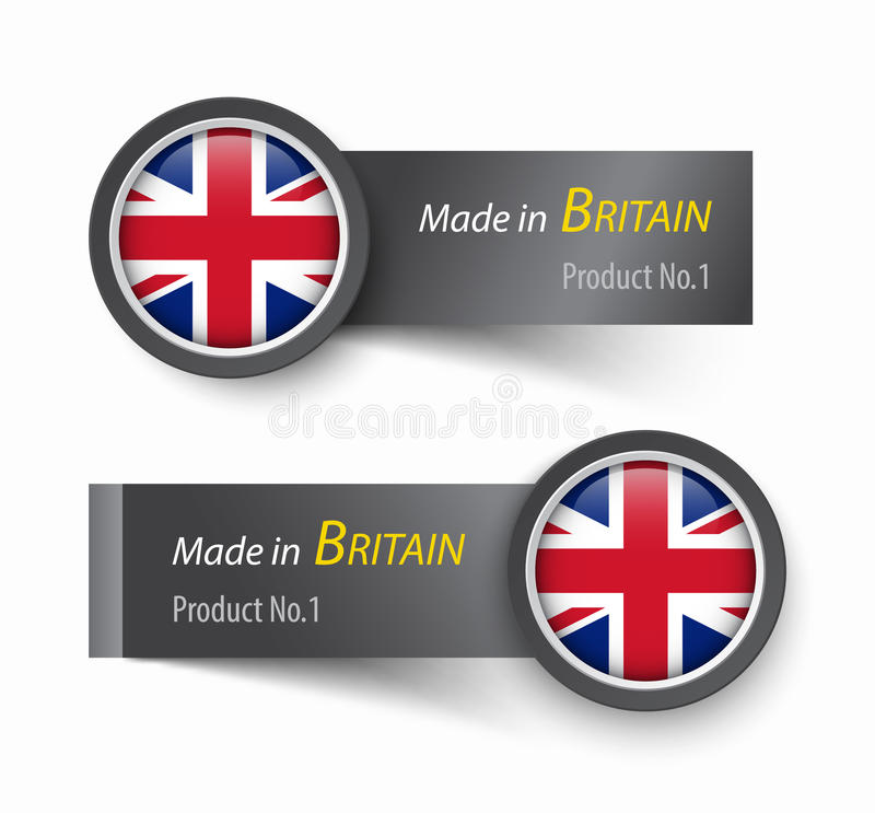 Flag icon and label with text made in The United Kingdom of Great Britain . royalty free illustration
