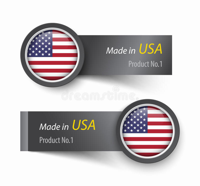 Flag icon and label with text made in The United States of America . royalty free illustration