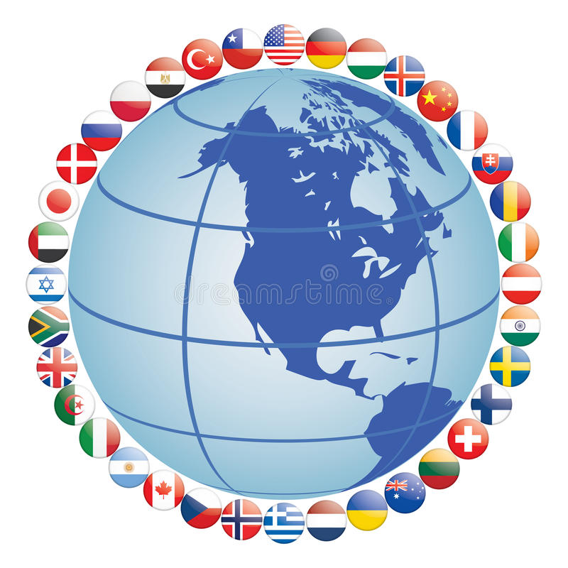 Flag icons around globe stock illustration