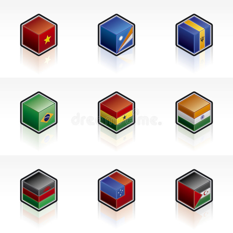 Flag Icons Set 56k royalty free illustration