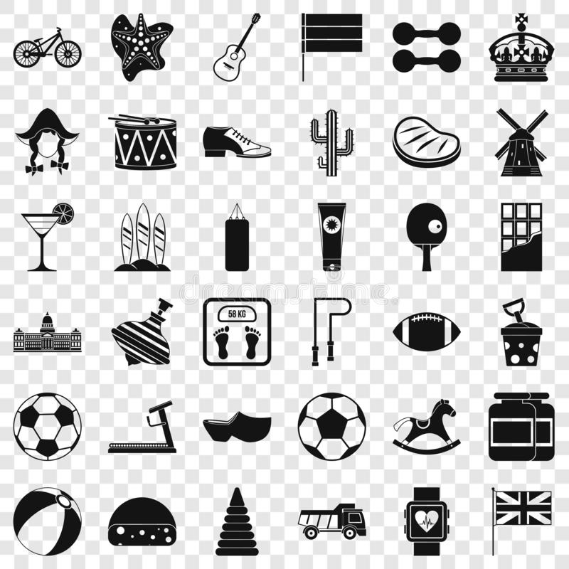 Flag icons set, simple style vector illustration