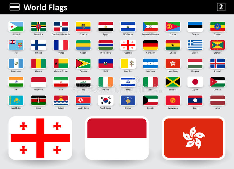 Flag icons of the world with names in alphabetical order royalty free illustration
