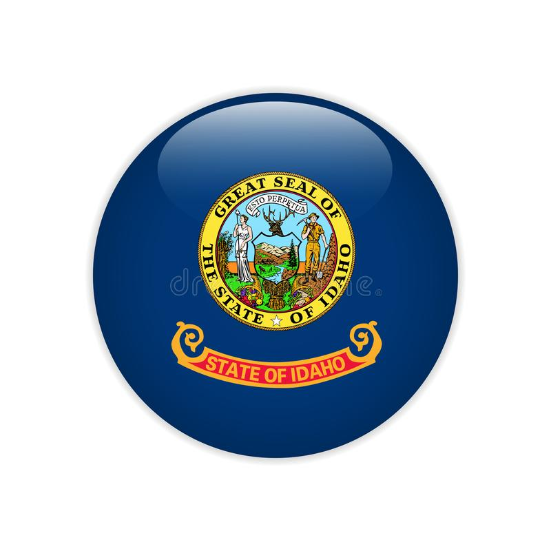 Flag Idaho button vector illustration