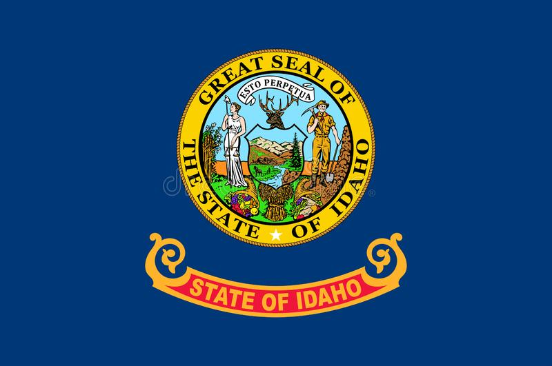 Flag of Idaho state in USA. Flag of Idaho is a state in the northwestern region of the United States. Vector illustrator royalty free illustration