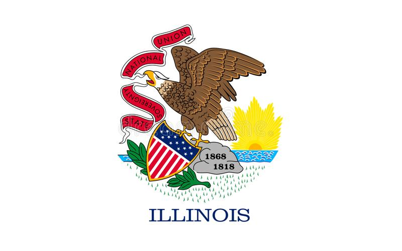 Flag of Illinois, USA. Flag of Illinois is a state in the midwestern region of the United States stock photo