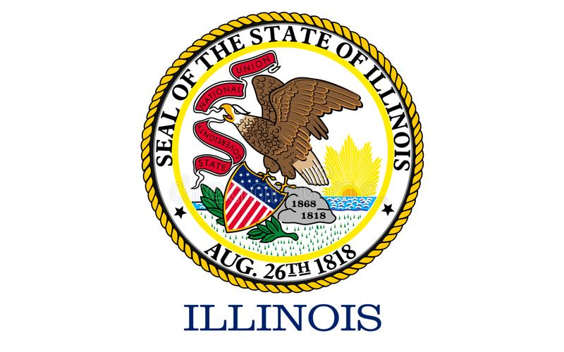 Flag of Illinois, USA. Flag of Illinois is a state in the midwestern region of the United States royalty free stock images